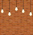 Wall brick with hanging bulbs decoration vector image vector image