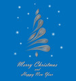 white elegant christmas tree on blue background vector image vector image