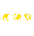 yellow geometric globes set world planet earth vector image vector image