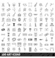 100 art icons set outline style vector image vector image