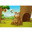 A bear and a bee near a treehouse vector image vector image