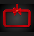 abstract red frame with satin bow vector image vector image