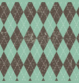 argyle seamless aged pattern blue and brown vector image vector image