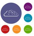 autumn cloud icons set vector image vector image