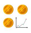 bitcoin dollar euro gold coins set finance vector image vector image