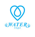 blue clear water drop symbol for use in mineral vector image vector image