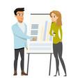 business man make presentation shows charts woman vector image