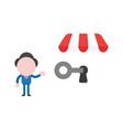 businessman character showing unlock shop store vector image vector image