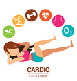 Cardio icon with women exercises vector image vector image