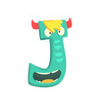 cartoon character monster letter j vector image vector image
