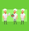 cartoon flat fat chef cook man character vector image vector image