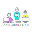collaboration males working with laptops vector image vector image