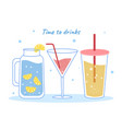 collection of tropical drinks vector image