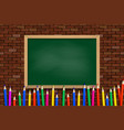 colored pencils on green school board vector image vector image