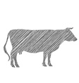 cow silhouette shading doodle drawing by hand vector image