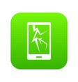 cracked phone icon digital green vector image vector image