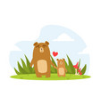cute babear and parent happy wild florest vector image vector image