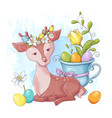 cute cartoon deer with a bouquet easter multi vector image vector image