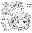 cute girl and flower coloring pages 2