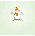 Cute vintage christmas card with snowman vector image