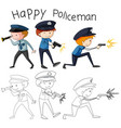 doodle good policeman character vector image