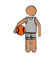 drawing character player basketball vector image