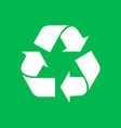 eco recycle icon on green background vector image vector image