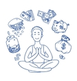 Financial yoga Businessman meditating on money vector image vector image