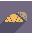 Flat web icon with long shadow croissants vector image vector image