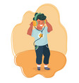 funny boy listening music vector image vector image