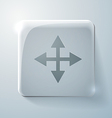 Glass square icon with highlights the move arrows vector image