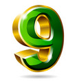 gold and green number 9 isolated on white vector image vector image
