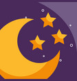 half moon and stars cartoon weather vector image