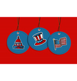 Hanging patriotic US badges vector image vector image