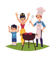 happy family having bbq barbeque picnic outdoors vector image vector image
