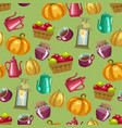 harvest season seamless pattern with household vector image vector image