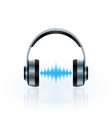 headphones and sound waves vector image vector image