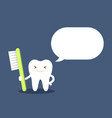 healthy cartoon tooth with a toothbrush tells vector image vector image