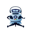 humanoid robot in headphones with display buttons vector image