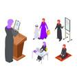 isometric arab woman design muslim vector image vector image