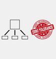 line hierarchy icon and scratched zero vector image vector image