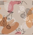 linear fig seamless pattern in line art style vector image vector image