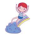 little boy with swimwear in rainbow vector image