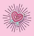 love heart love arrow cartoon style vector image vector image