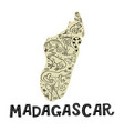 madagascar map with doodle animal and madagascar vector image vector image