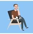 man sitting together with his cat in vintage chair vector image vector image