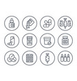 medicaments drugs pharmaceutics line icons set vector image vector image
