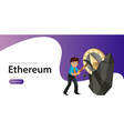 mining ethereum crypto currency poster vector image