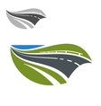 Modern highway or road abstract icon vector image