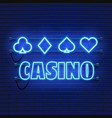 neon lamp casino banner on wall background poker vector image vector image